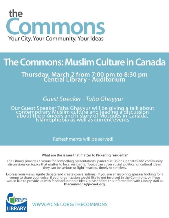 Event Presentation: Muslim Culture in Canada by Taha Ghayyur